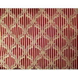 TISSU AMEUBLEMENT COURONNES OR FOND ROUGE A0019