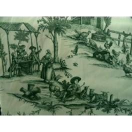 TISSU TOILE DE JOUY HISTOIRE D'EAU VERT FOND BLANC CASSE A0009