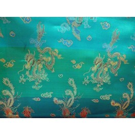 TISSU CHINOIS  DRAGON TURQUOISE  A0007