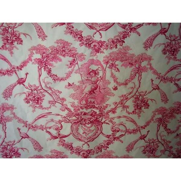 tissu toile de jouy rose a0003 tissus. Black Bedroom Furniture Sets. Home Design Ideas