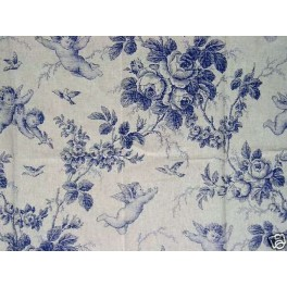tissu toile de jouy seraphin bleu a0005. Black Bedroom Furniture Sets. Home Design Ideas